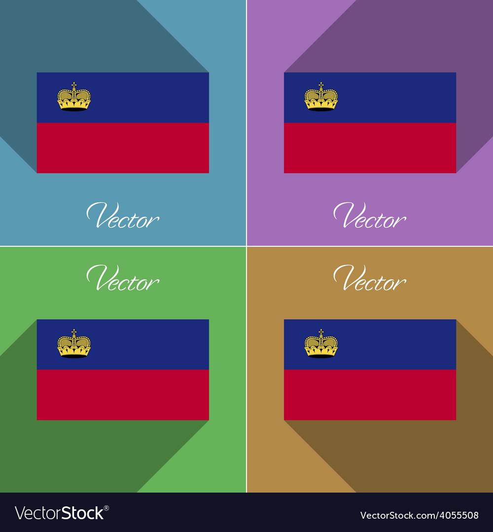 Flags Liechtenstein Set of colors flat design and vector image