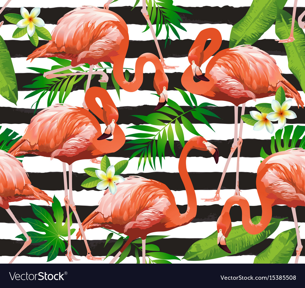 Flamingo tropical bird background seamless