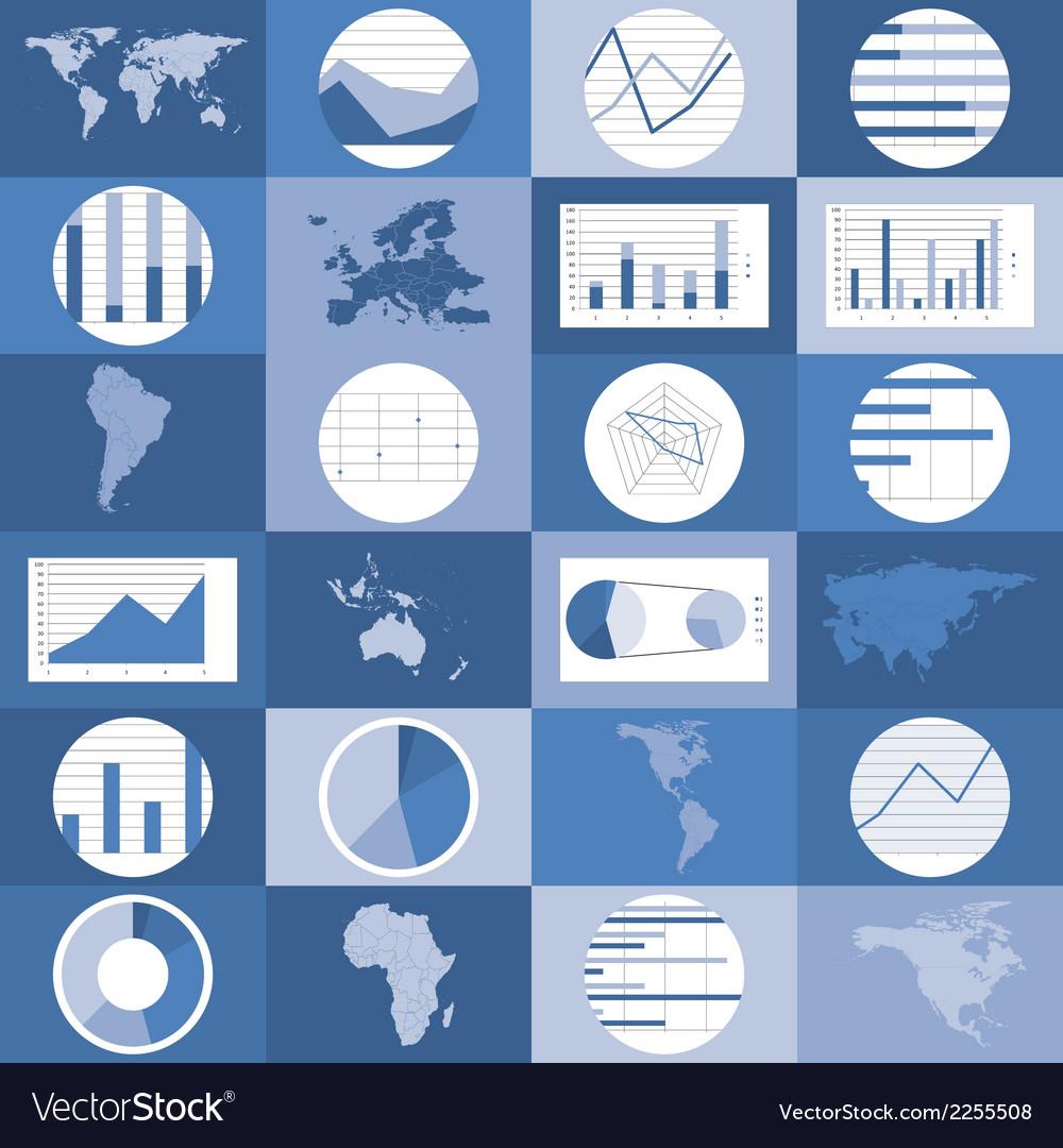 Flat design world maps graphics