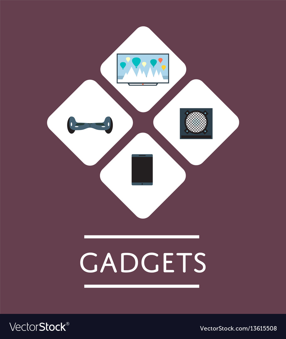 Gadgets store icon set in flat design