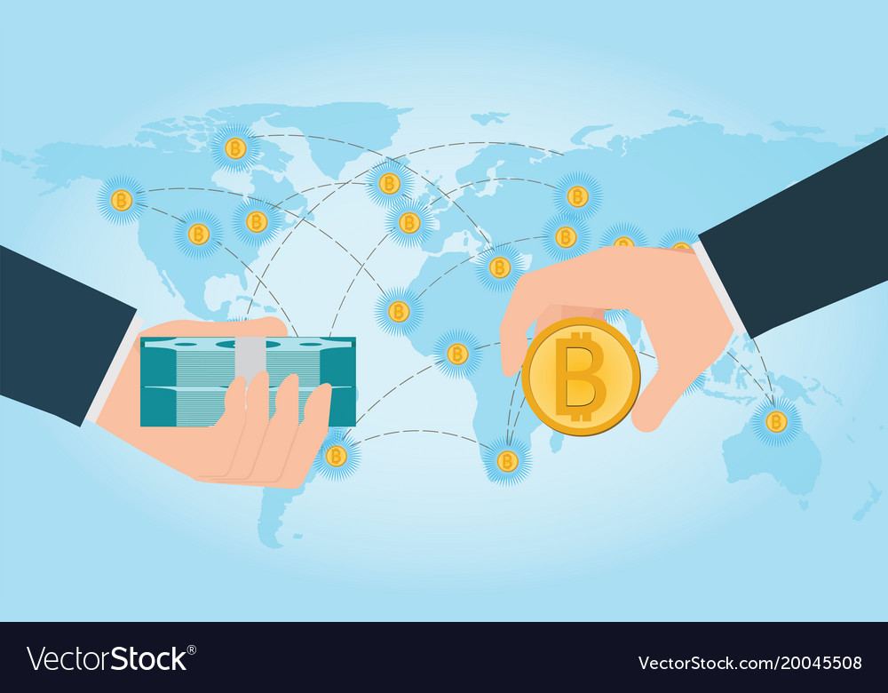 Hand holding smartphone with bitcoin and dollars