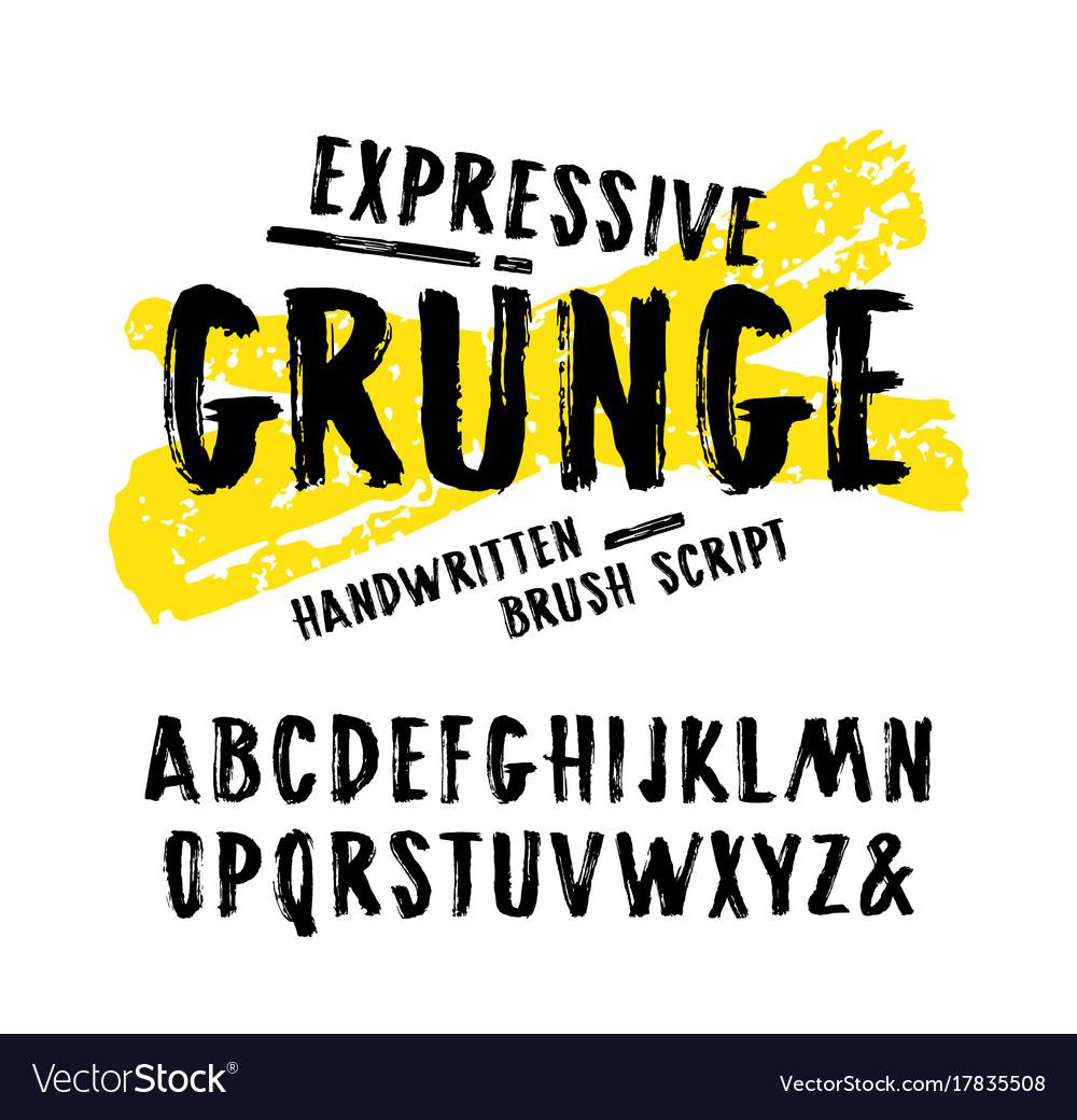 Handwritten brush font in grunge style
