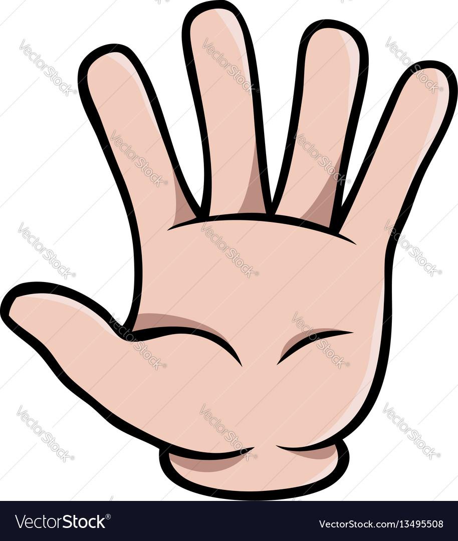 Human cartoon hand showing five fingers vector image