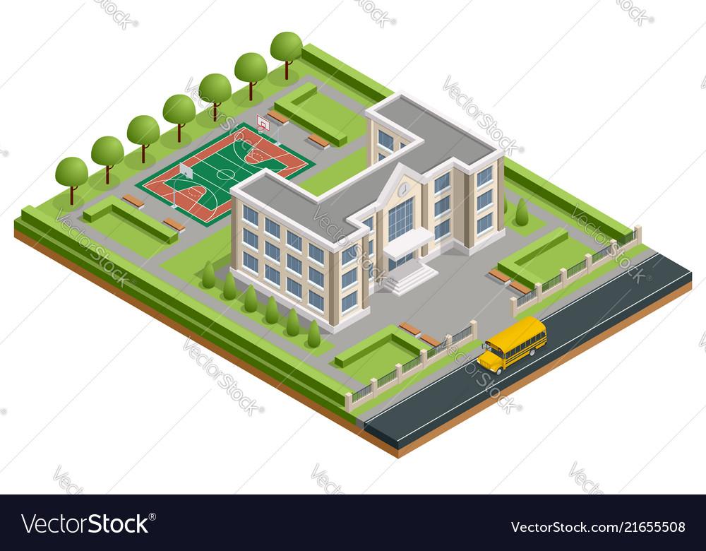 Isometric public school building exterior school
