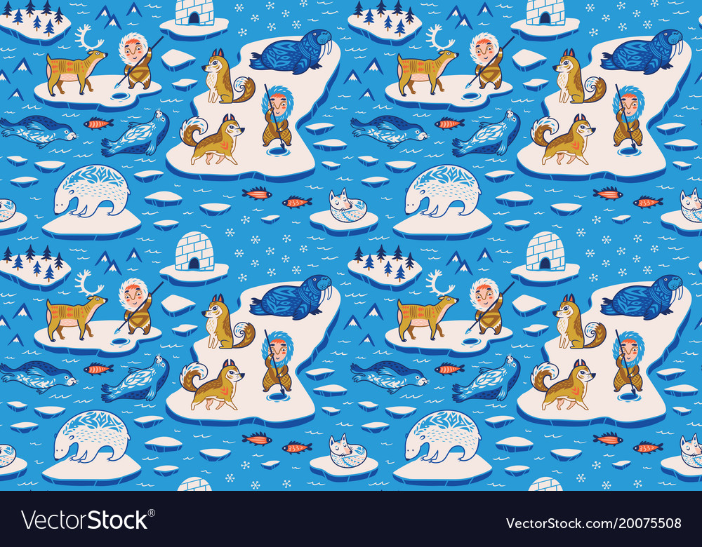 Seamless pattern with ornamental polar animals vector image