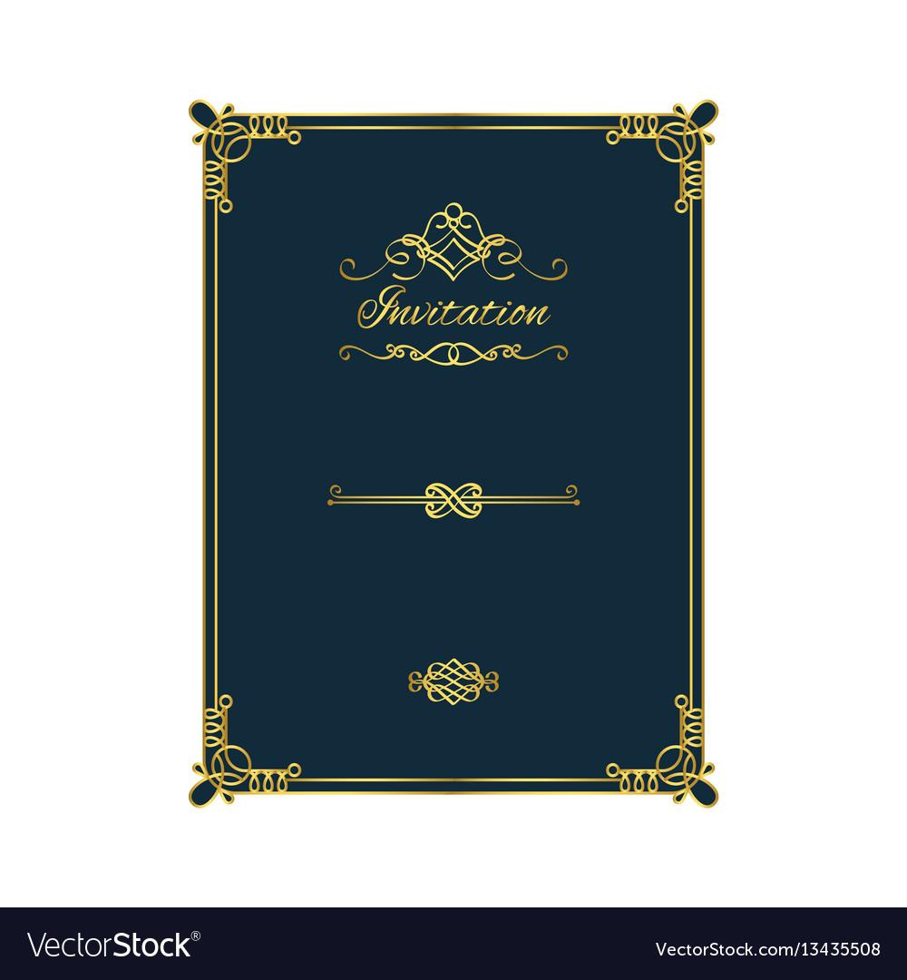 Vintage golden invitation on blue background