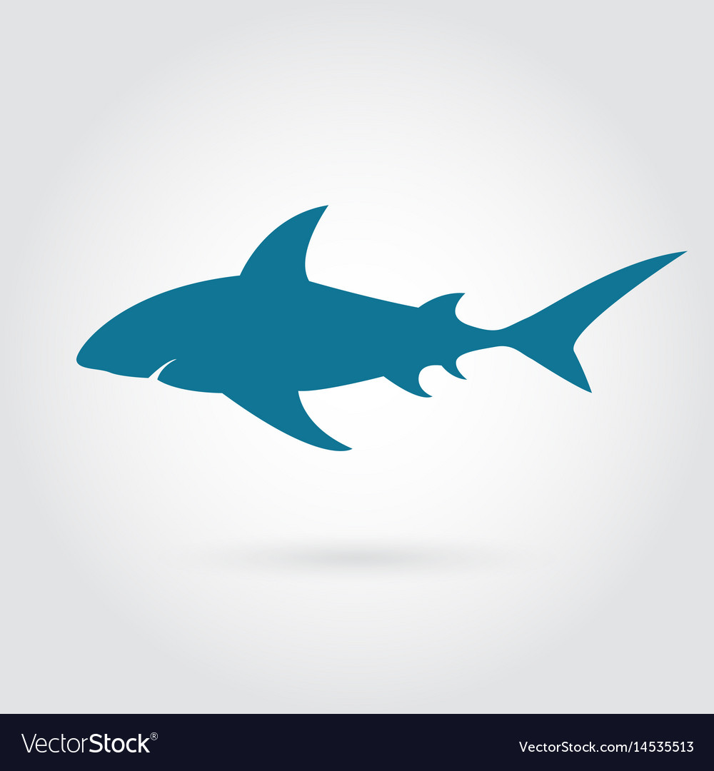 Blue shark silhouette with sharp fins