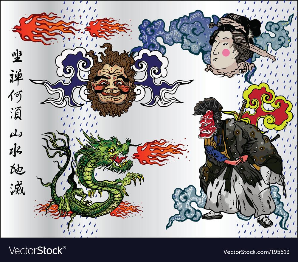 Japan tattoo vector image