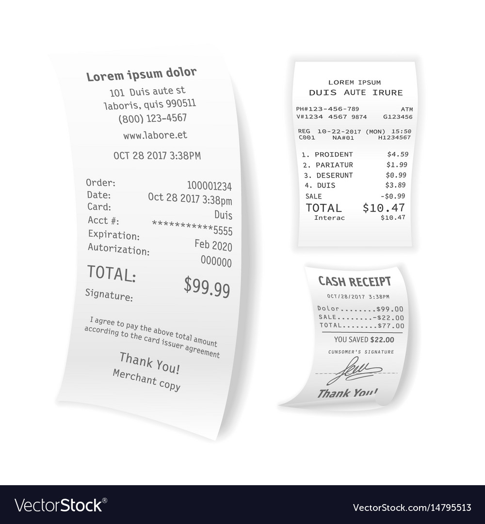 Printed cash receipts set isolated on white