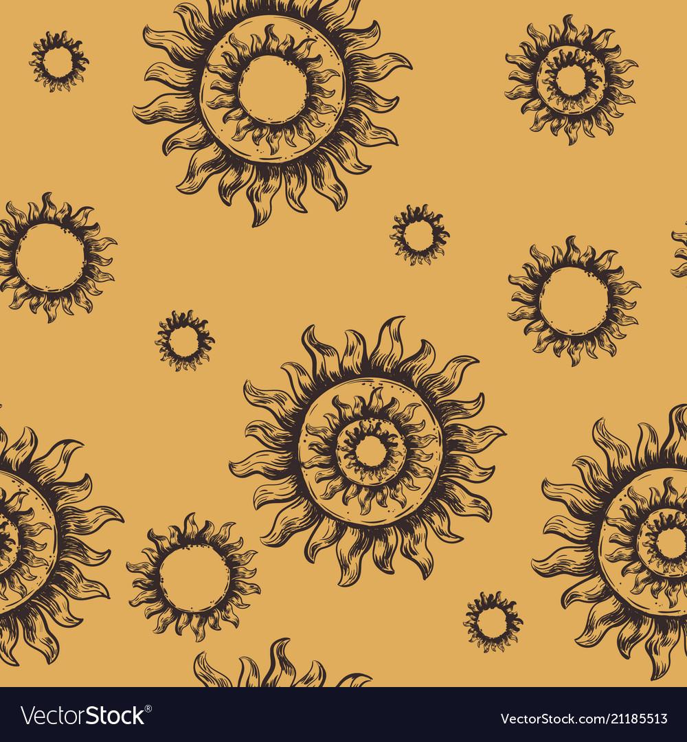 Seamless pattern sun the symbol of the sun vector image