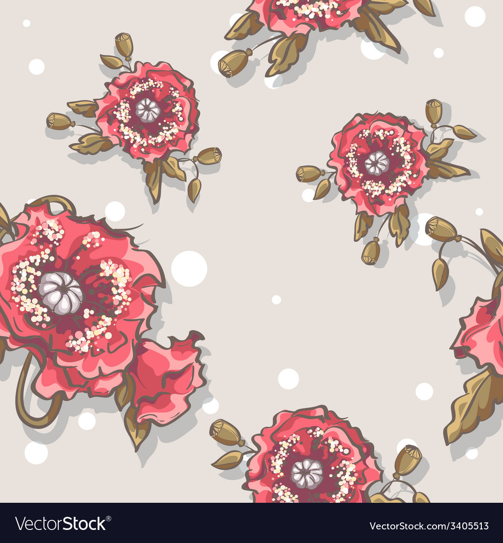 Seamless texture of poppies on a beige background