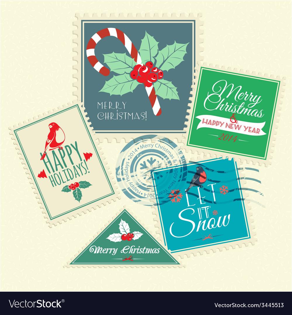 Set Of Christmas Postal Stamps