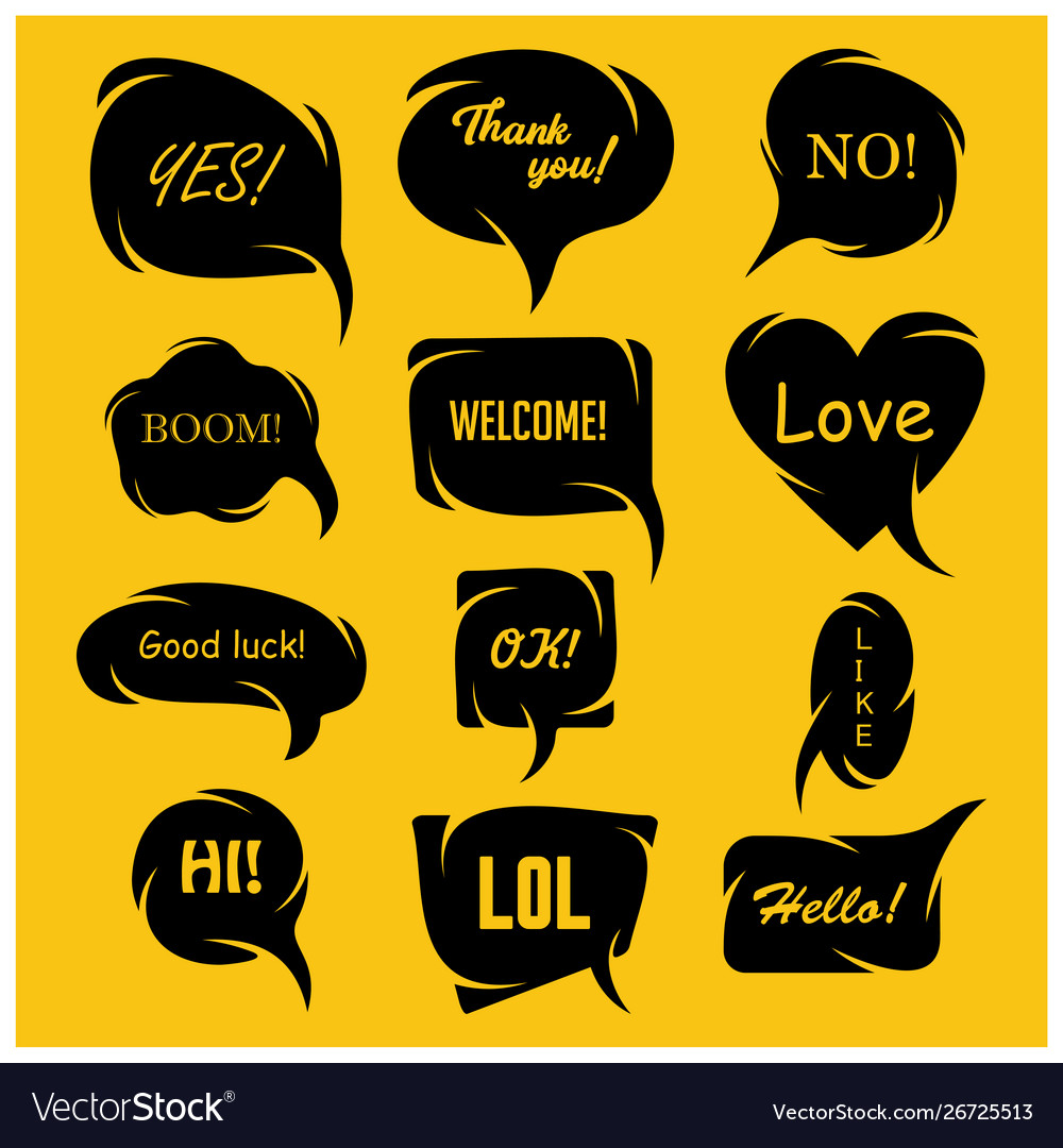Set speech bubbles in comic style talk icon