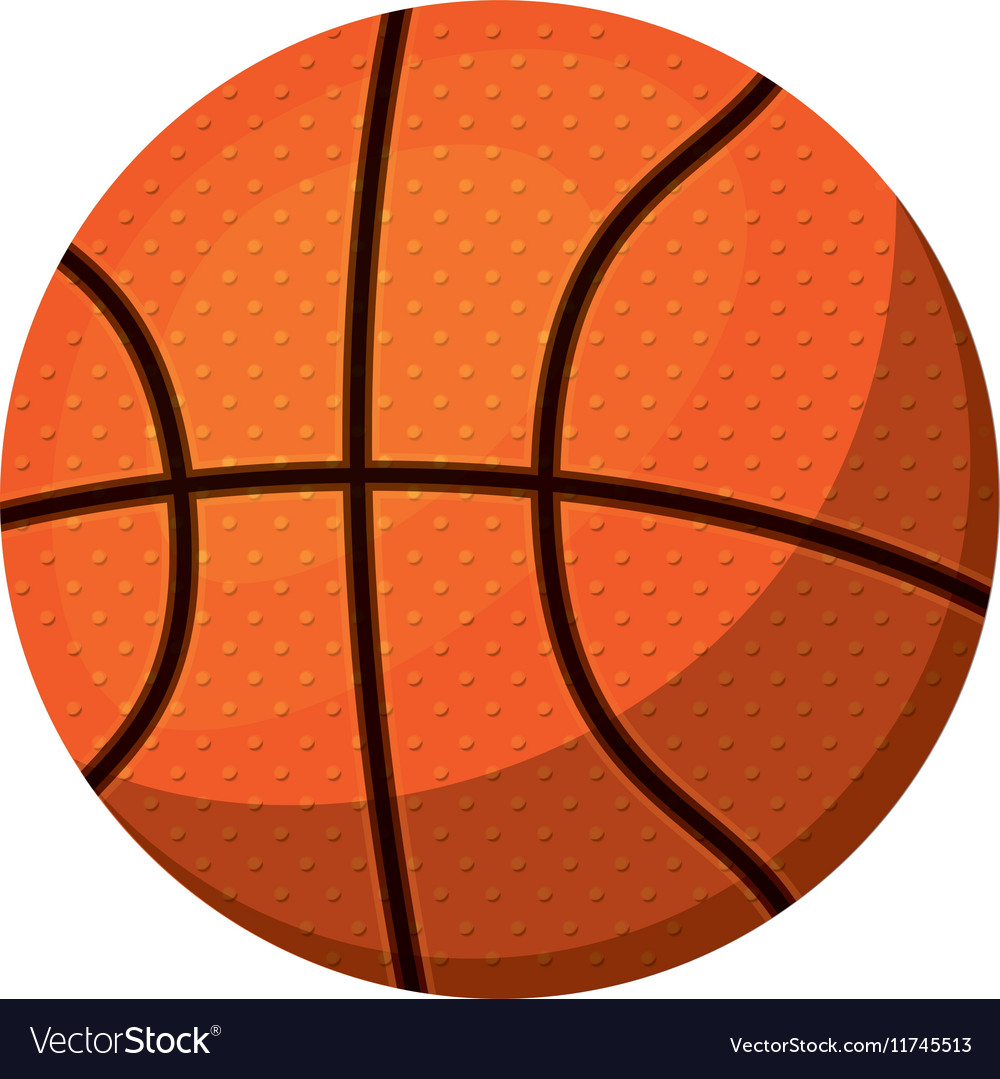 Silhouette color with basketball ball to left vector image