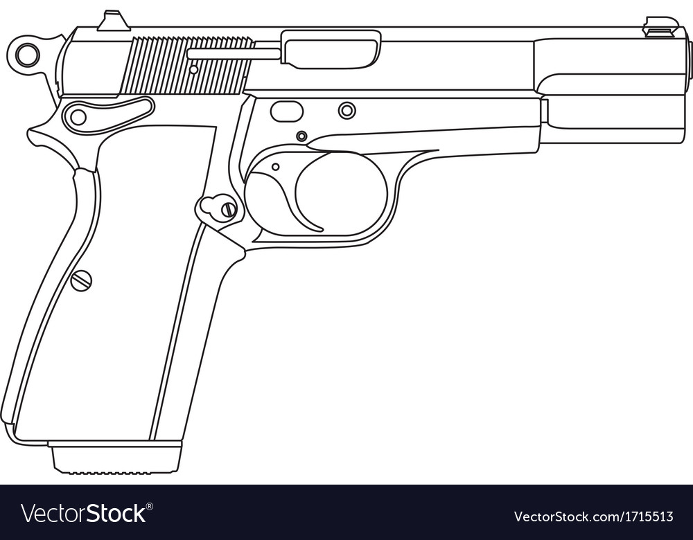 wireframe gun pistol royalty free vector image vectorstock