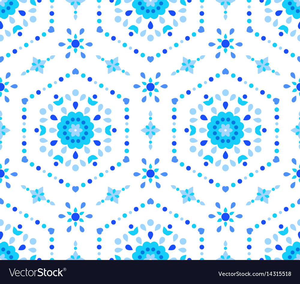 Blue white floral pattern cornflower vector image