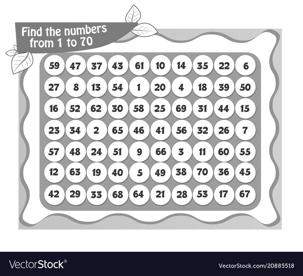Coloring Book Numbers To 70 Vector Image