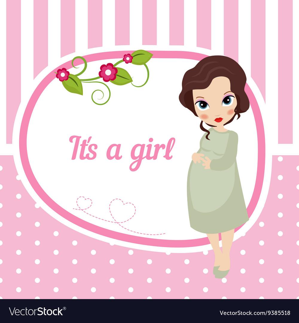 cute baby girl card royalty free vector image vectorstock rh vectorstock com Baby Girl Toy Clip Art Baby Girl Congratulations Clip Art