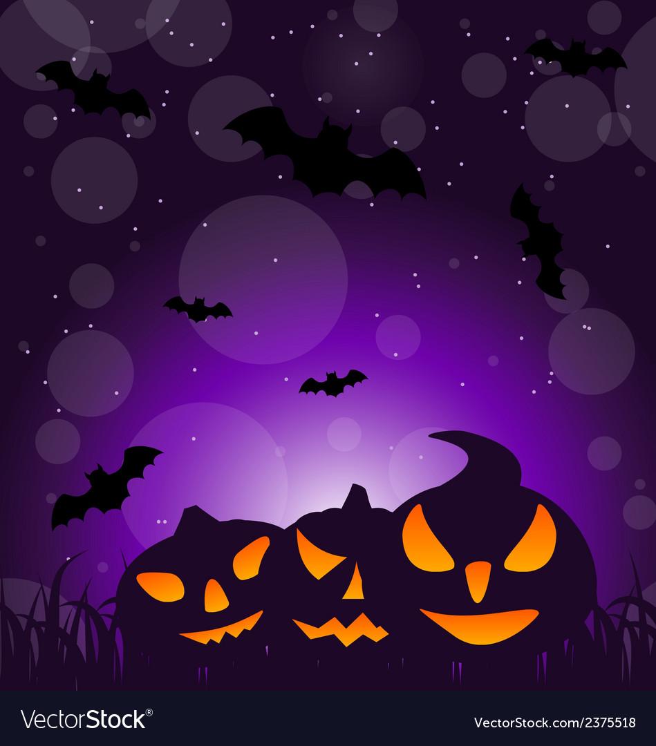Halloween ominous pumpkins on moonlight background vector image