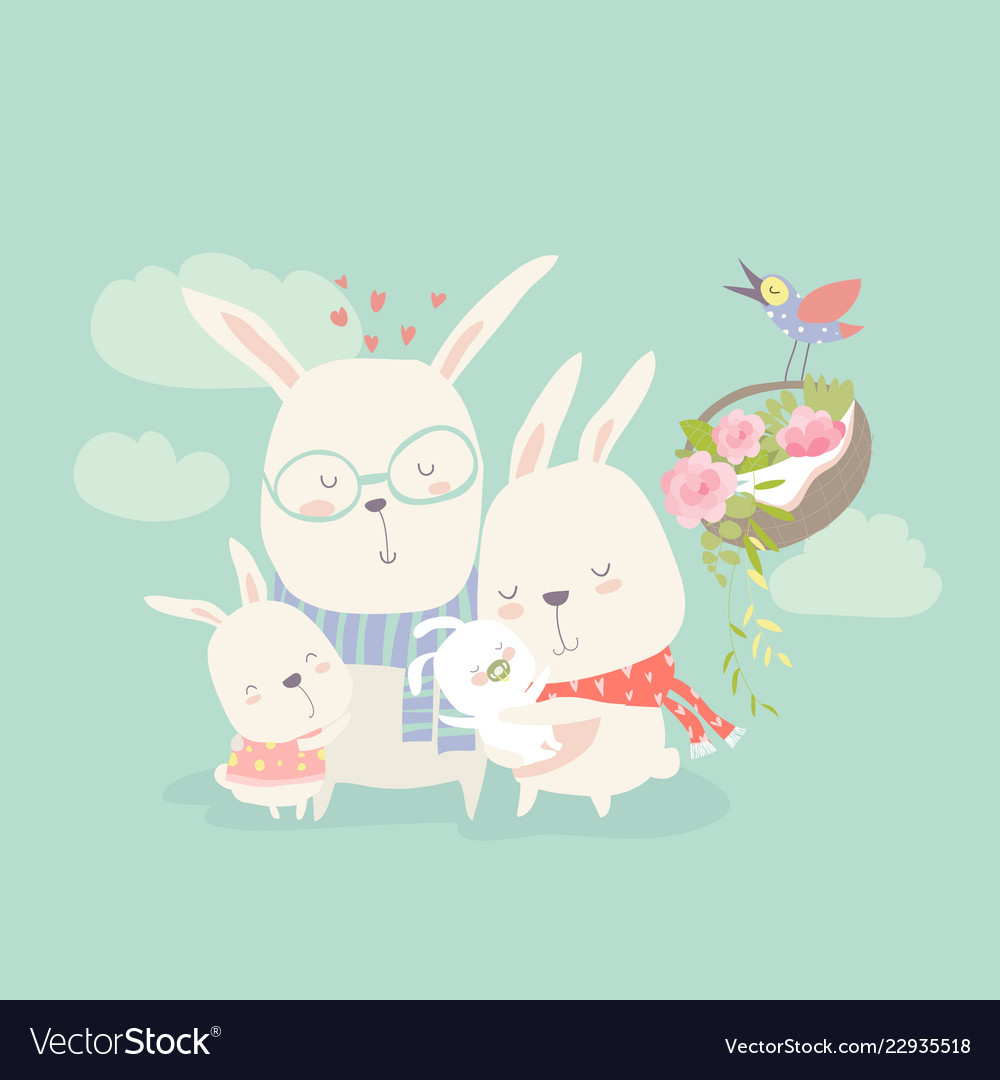 Happy cartoon rabbits family vector