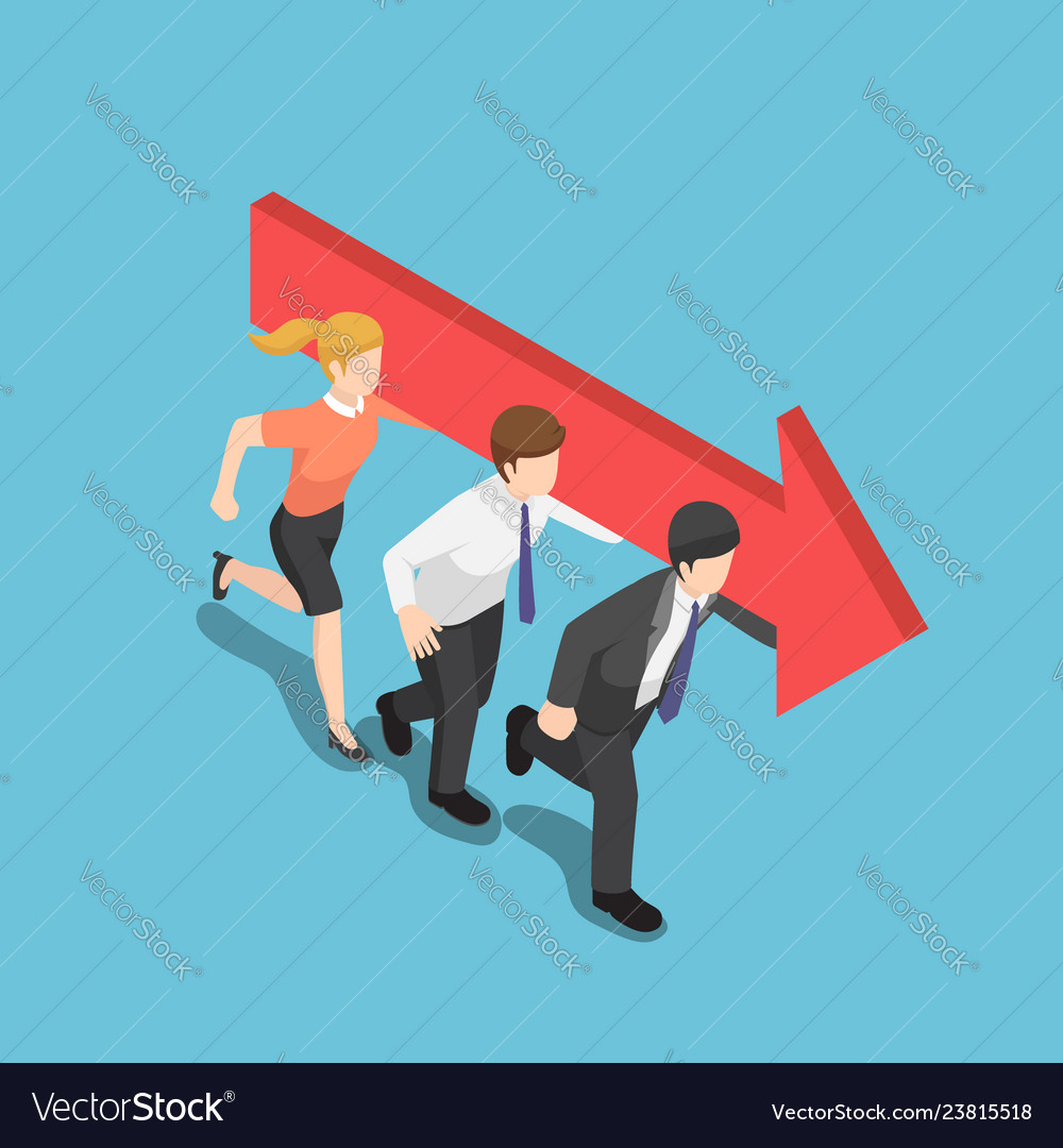 Isometric business people carry an arrow and move