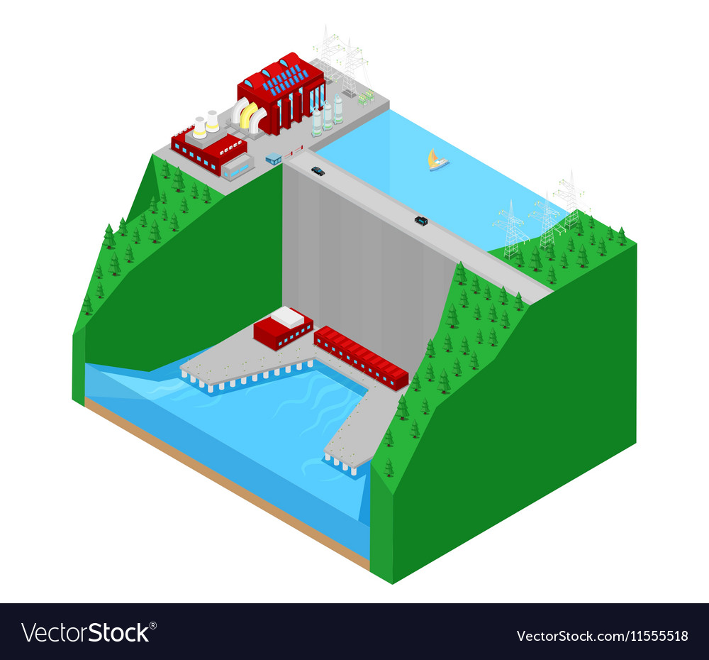 Isometric Plant Factory Power Station vector image