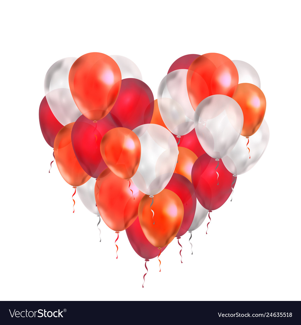 Luxury balloons in red and white colours in heart