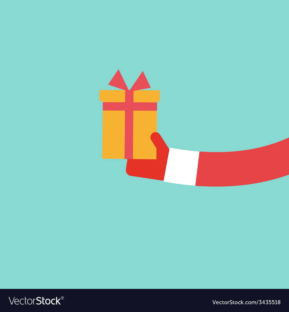 Santa Claus holds present flat design