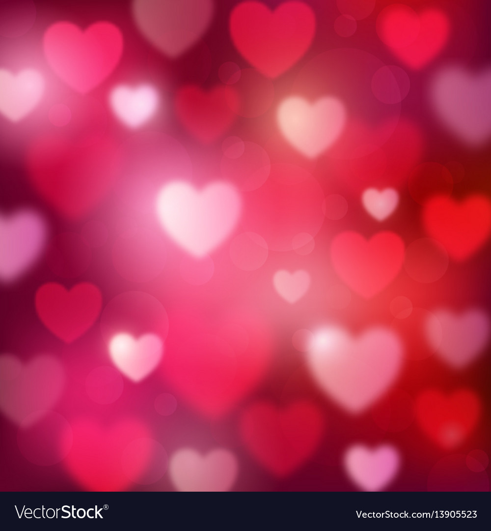 Abstract romantic red background with hearts and