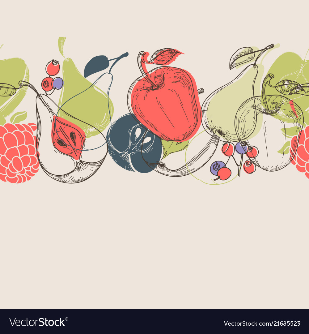 Autumn fruits linear background