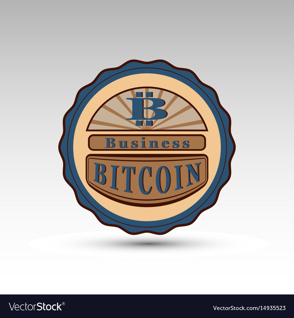 Badge with bit coin symbol