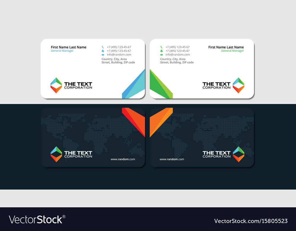 business card with multicolored triangular figures
