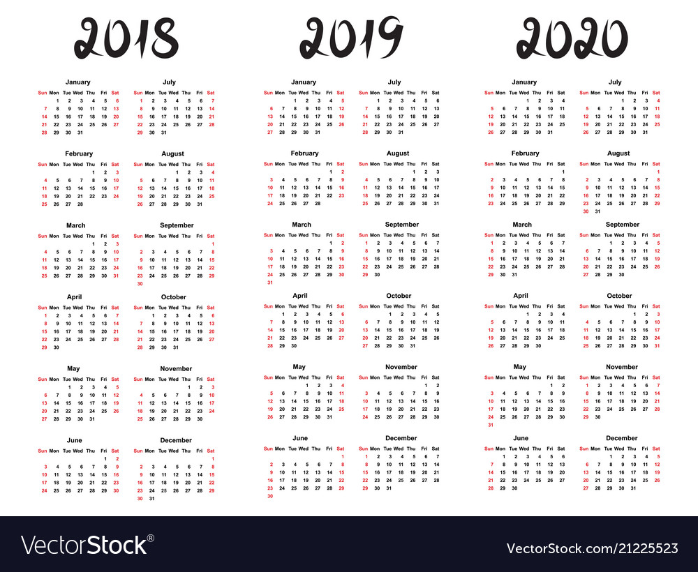 Calendar template for 2019 vector image