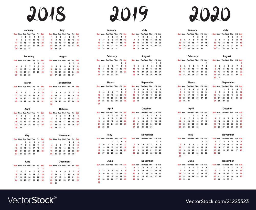 Calendar template for 2019