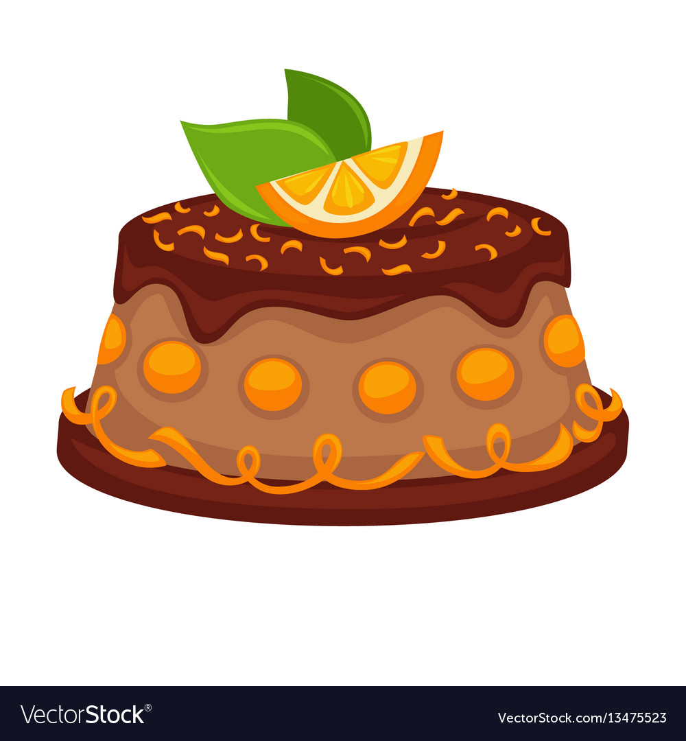 Chocolate cake torte with orange topping