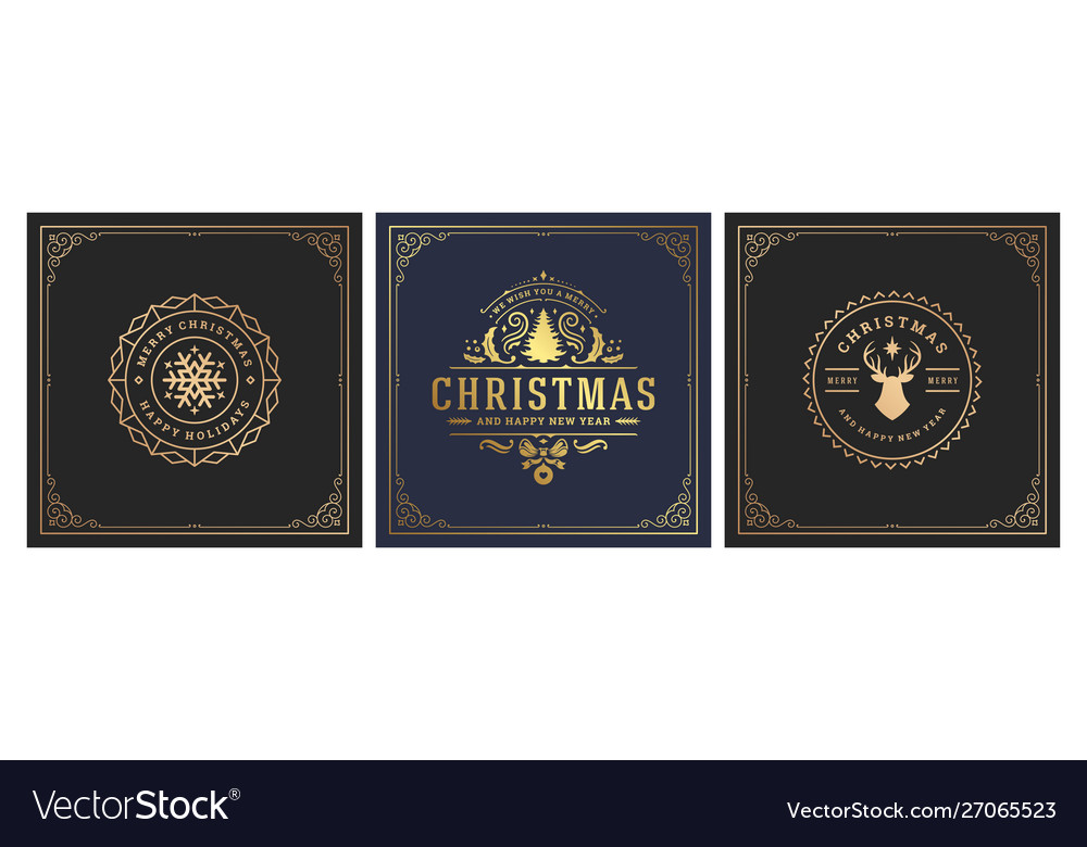 Christmas square banners vintage typographic