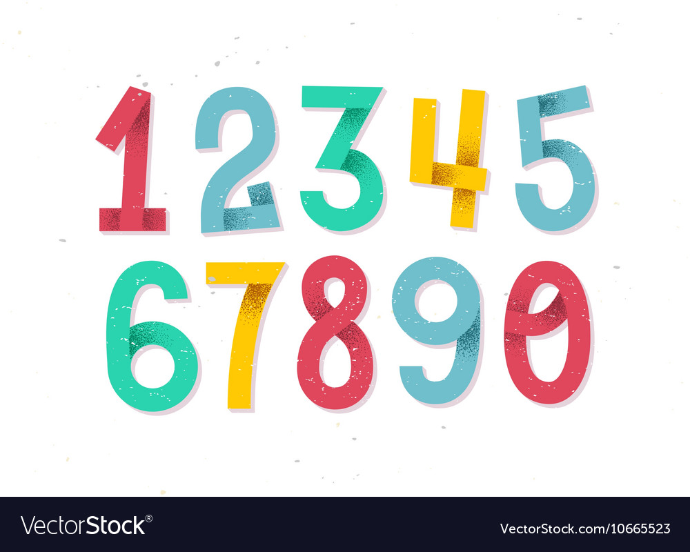 Colorful set of hand drawn numbers isolated on whi