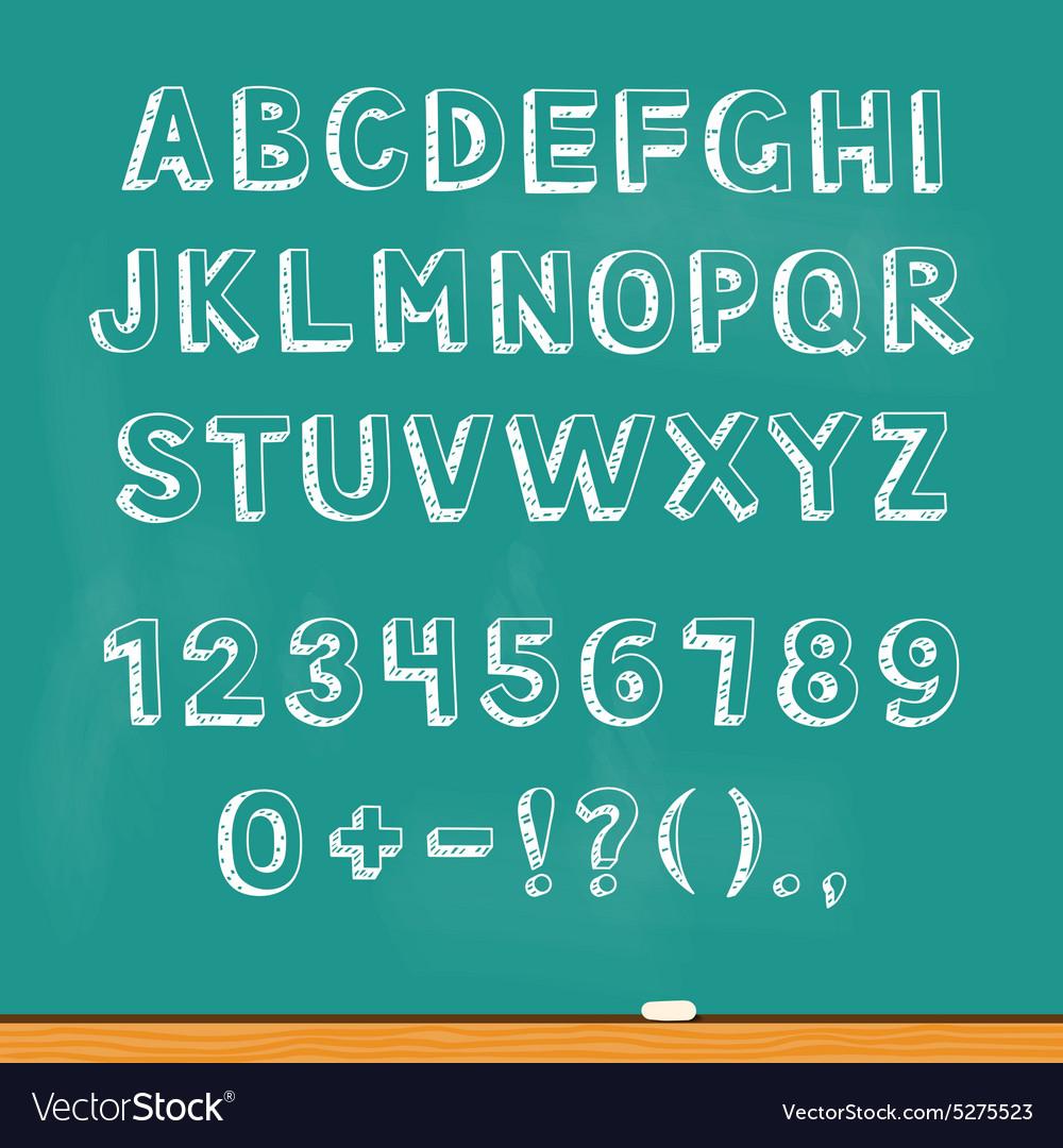 Drawing alphabet lettering on chalk blackboard