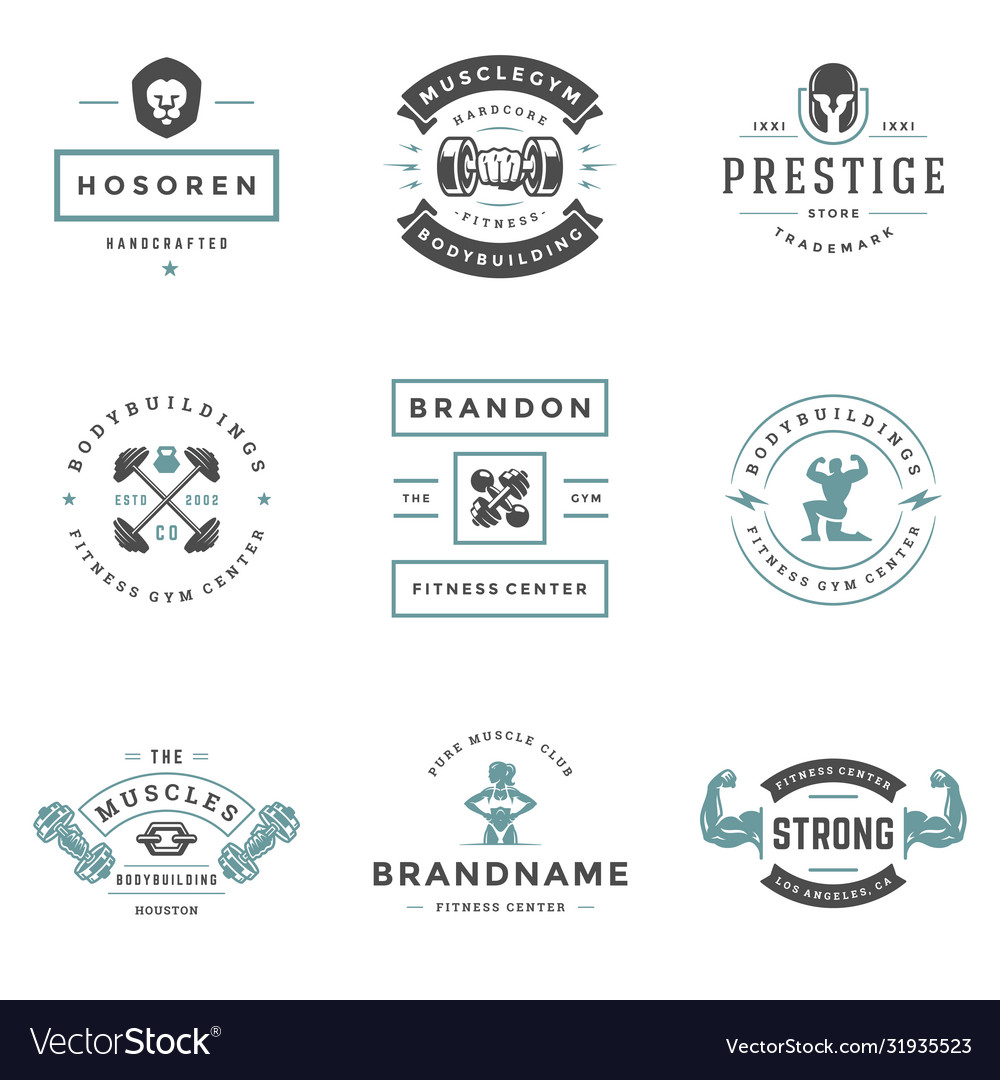 Fitness center and sport gym logos and badges