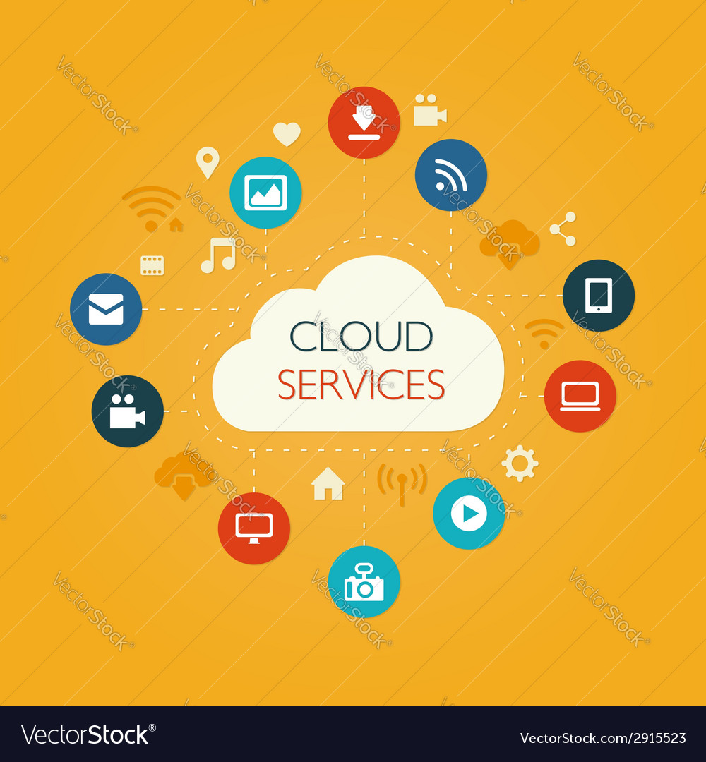 Flat design composition with cloud