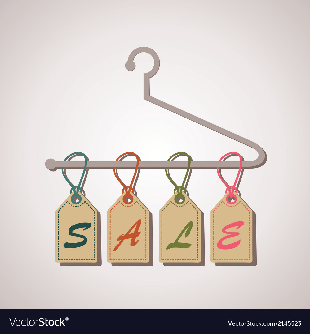 Hanging retro sale banner vector image