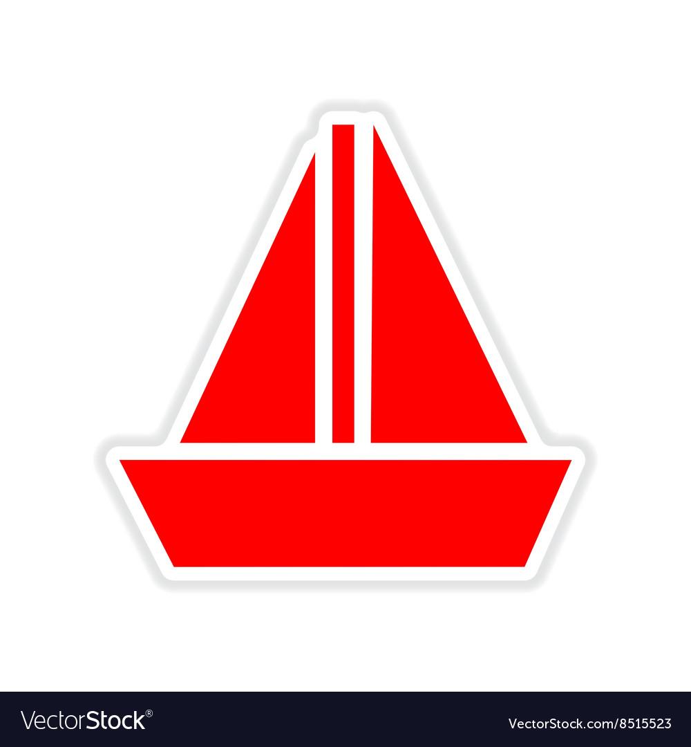 Paper sticker on white background sailing ship