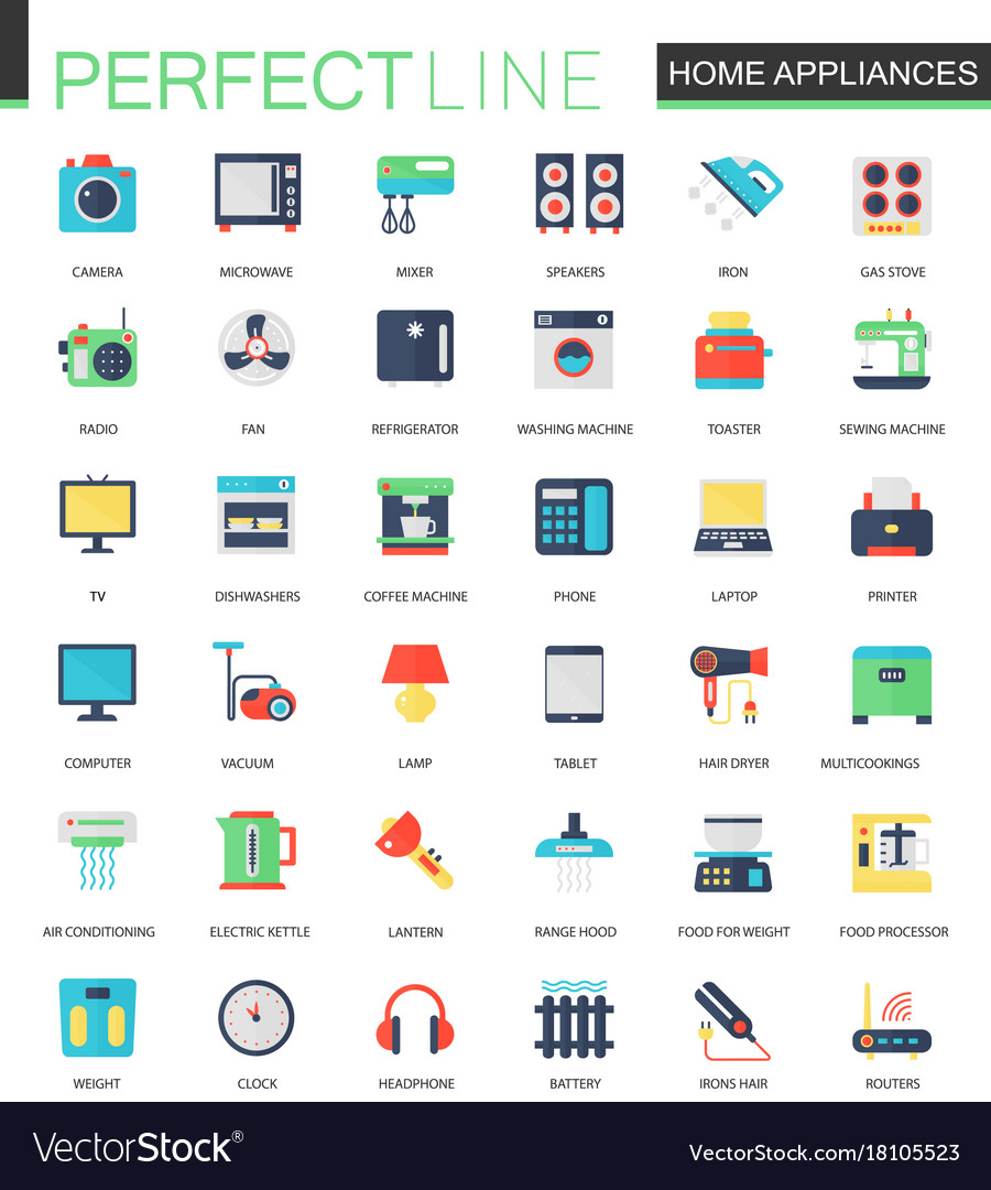 Set of flat home appliances icons