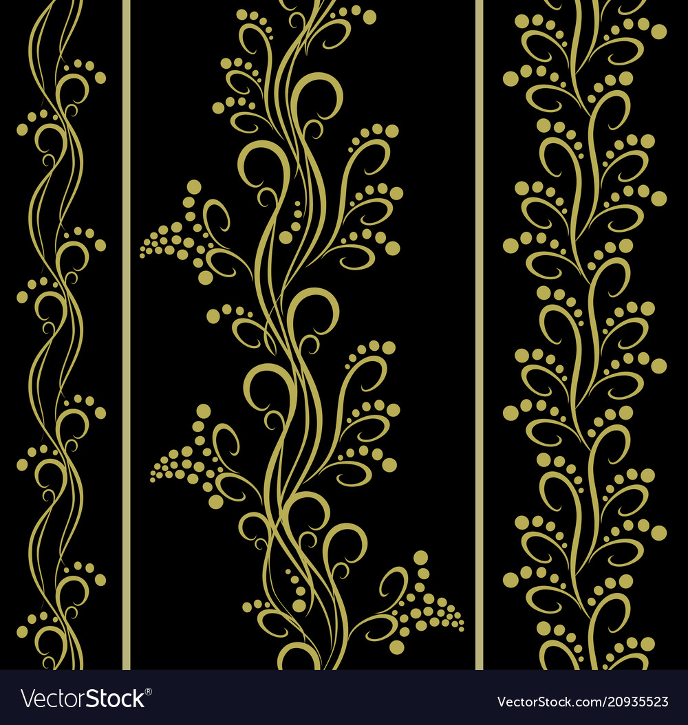 Set of seamless floral patterns with berries