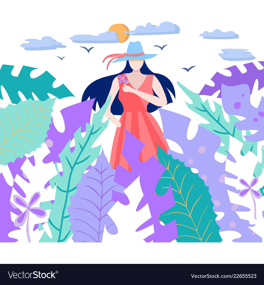 Sun the tropical leaves and girl holding flower