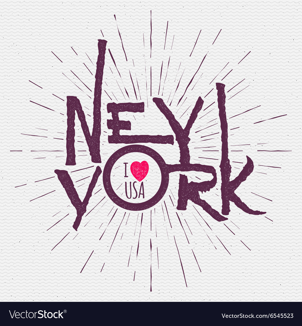 Vintage hand lettered textured new york city t