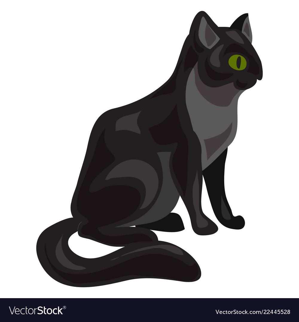 Black cat icon cartoon style