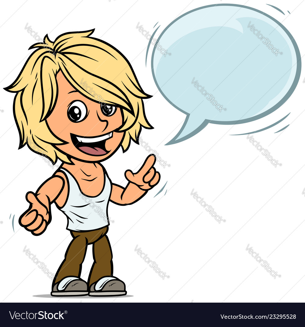Cartoon blonde boy character with speech bubble