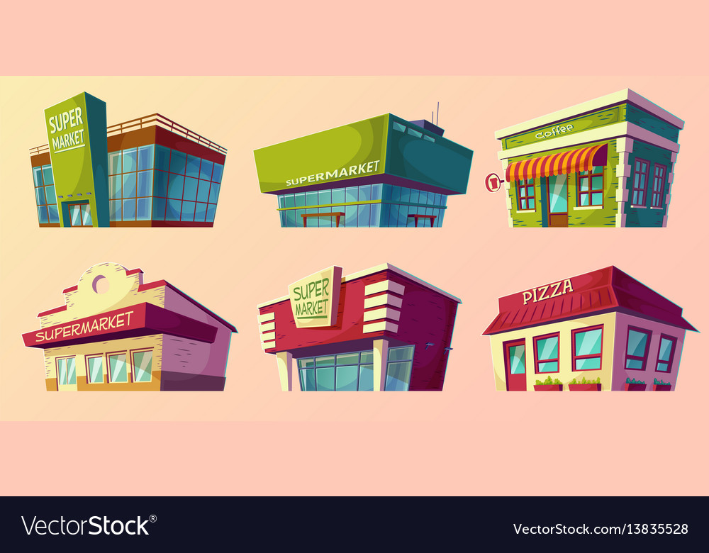 Cartoon retro and modern supermarket