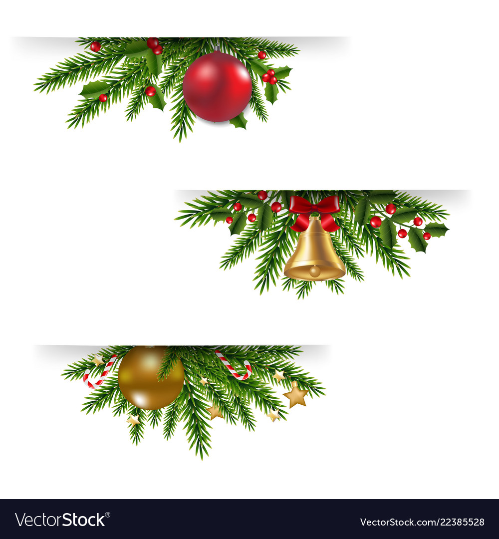 Christmas garland set white background